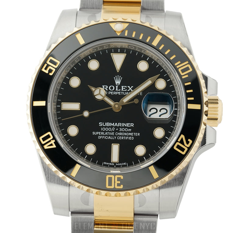 Steel & 18k Yellow Gold Ceramic Bezel Black Dial