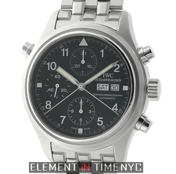 Doppel Chronograph Split Second Steel 42mm Black Dial