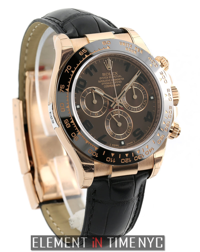 18k Rose Gold Ceramic Brown Arabic Dial 40mm