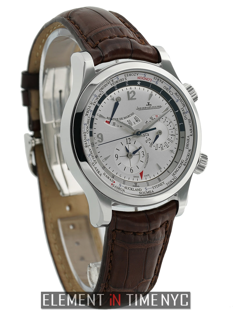 Master World Geographic 42mm Stainless Steel Silver Dial