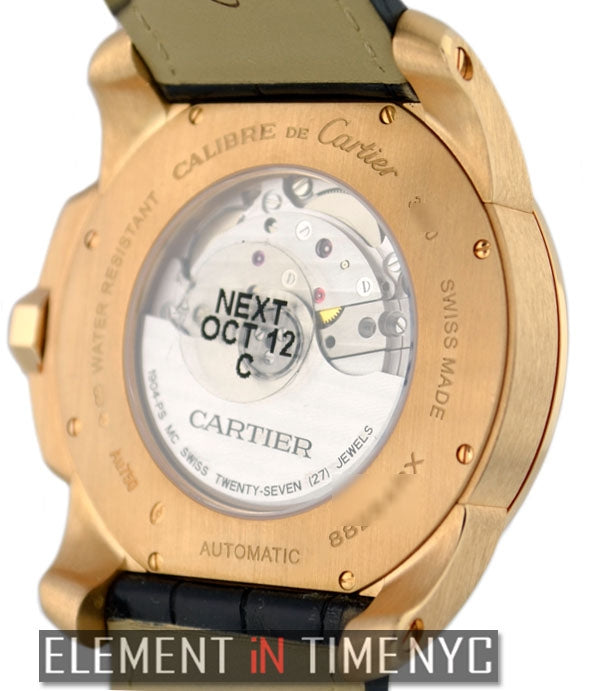 Calibre 18k Rose Gold Silver Dial