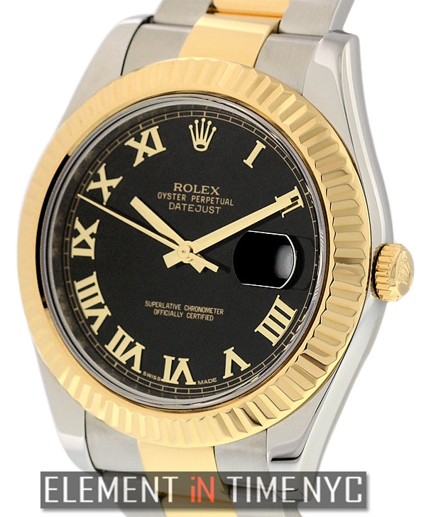 Steel & Gold 41mm Black Roman Dial