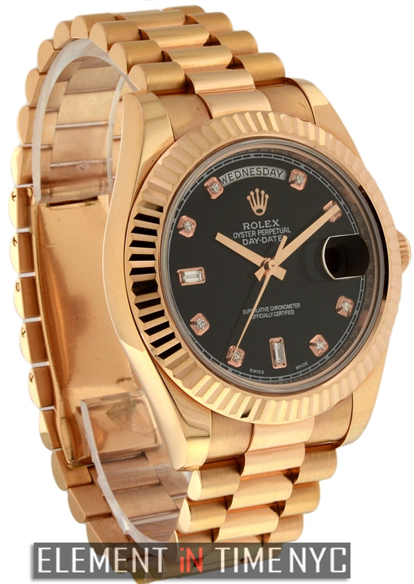 President 18k Rose Gold Black Diamond Dial