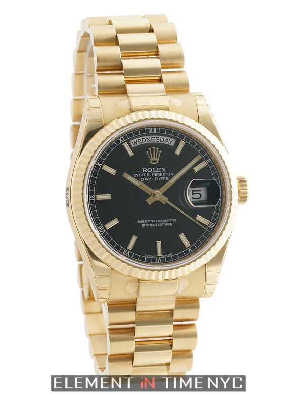 President 18k Yellow Gold 36mm Black Stick Dial