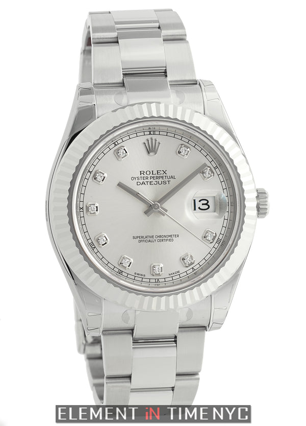 Stainless Steel 18k White Gold Bezel Silver Diamond Dial