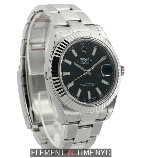 41mm Steel & White Gold Fluted Oyster Black Index Dial