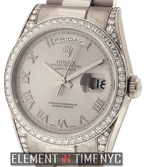 President 18k White Gold Diamond Bezel And Lugs