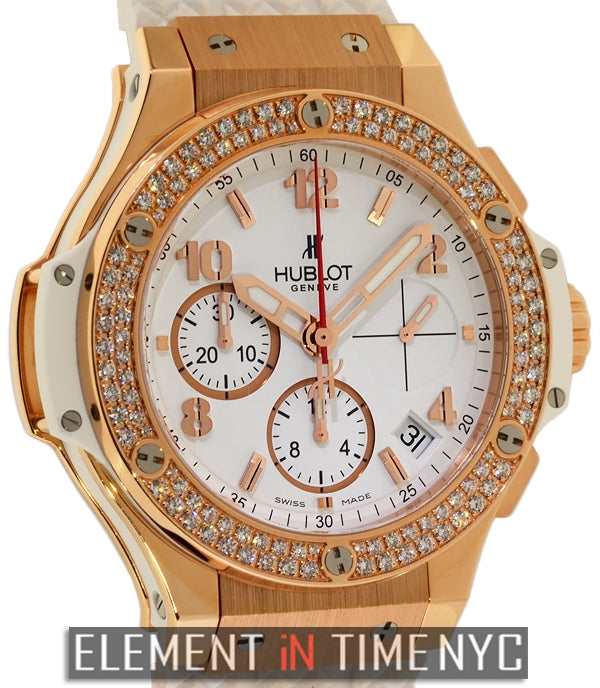 Gold White Diamonds 41mm 18k Rose Gold