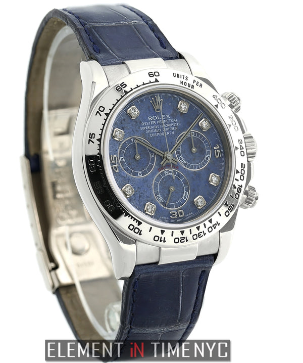 18k White Gold Sodalite Diamond Dial