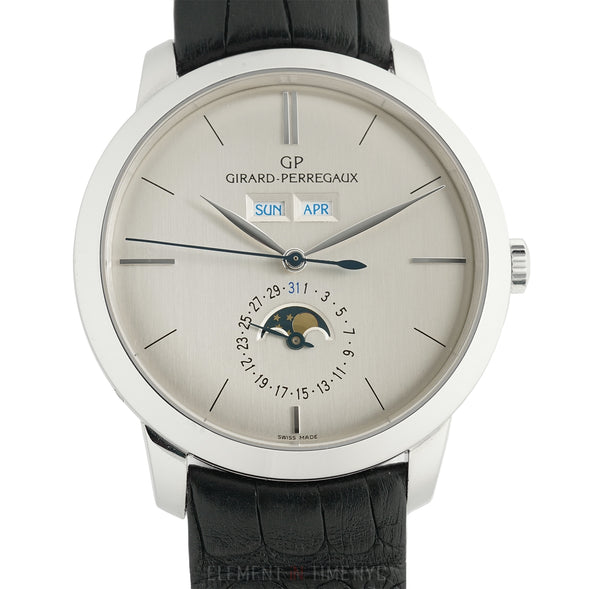 Full Calendar Moonphase Palladium 40mm Silver Dial