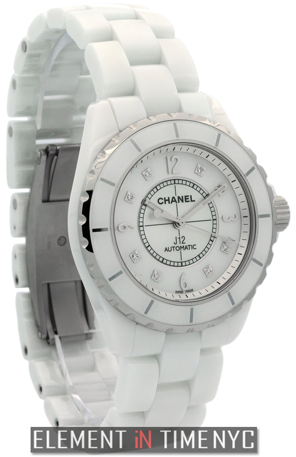 White Ceramic 38mm Automatic MOP Diamond Dial