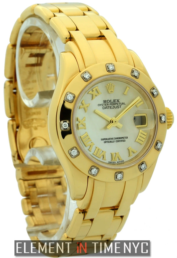 Lady Pearlmaster 18k Yellow Gold Diamond Bezel