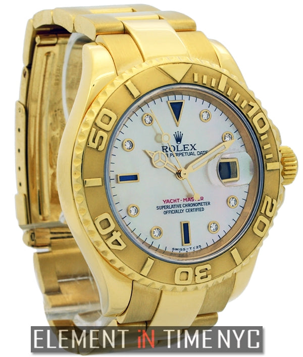 40mm 18k Yellow Gold Mother Of Pearl Serti Dial Circa 2000