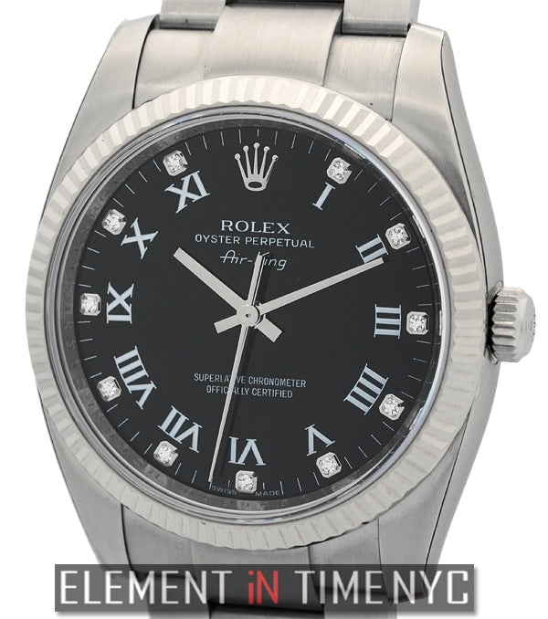 34mm Steel Black Diamond Dial