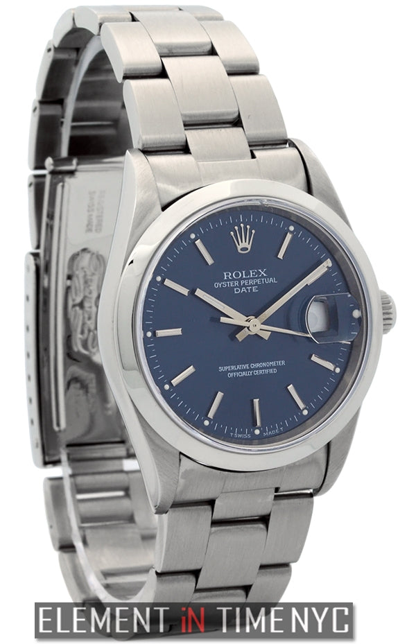 Date Stainless Steel 34mm Blue Stick Dial Circa 1998
