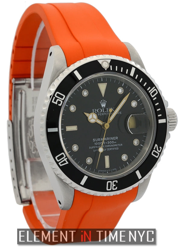 Stainless Steel Diamond Dial Orange Rubber B