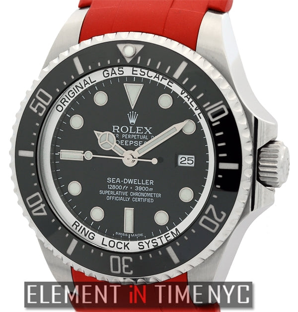 Deepsea 44mm Black Dial On Red Rubber B