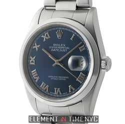 Vintage 36mm Stainless Steel Oyster Bracelet Blue Roman Dial