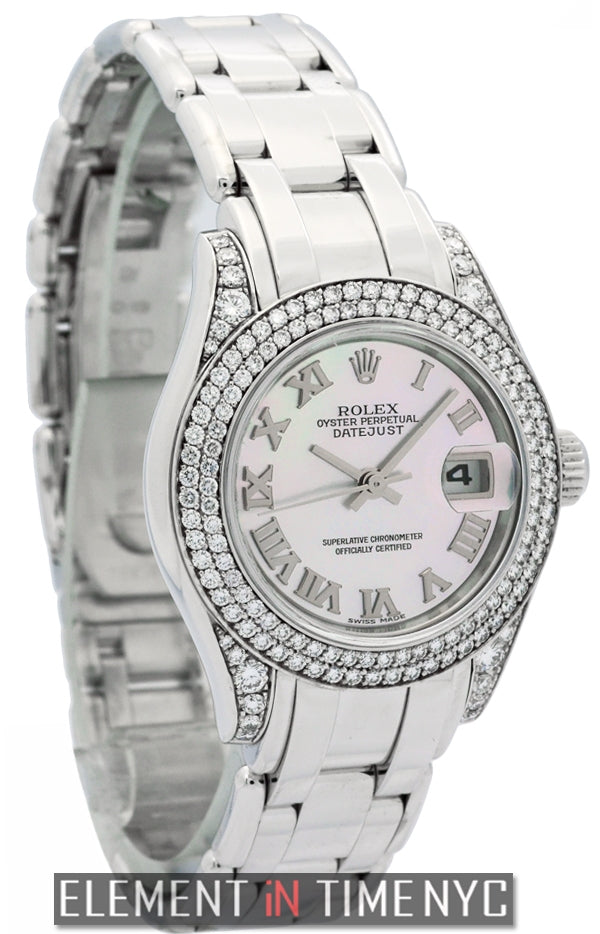 Pearlmaster 29mm 18k White Gold Diamond Bezel
