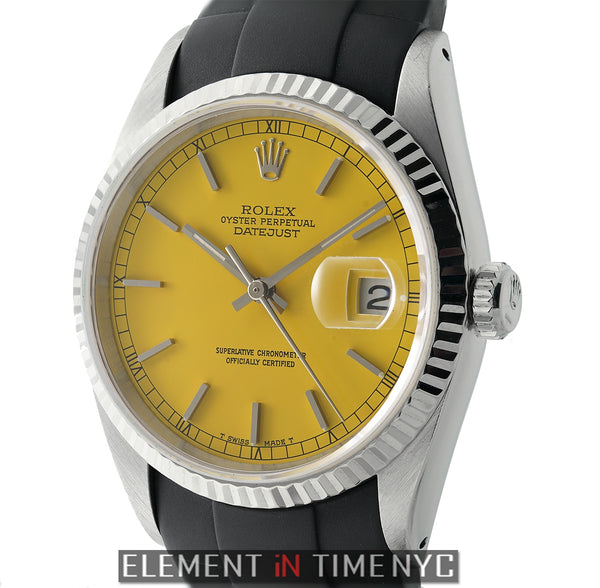 Steel & White Gold Bezel 36mm Yellow Dial Circa 1991