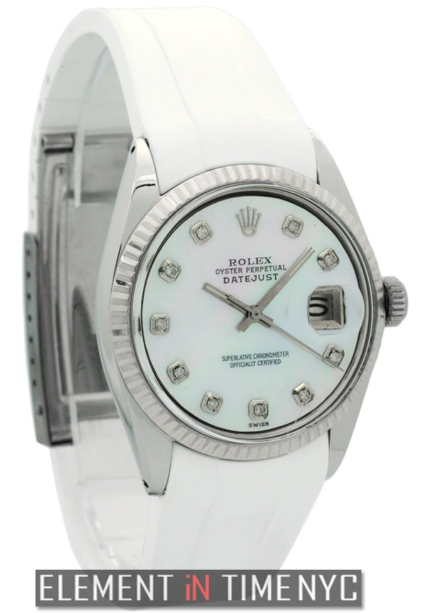 Stainless Steel 36mm RubberB MOP Diamond Dial