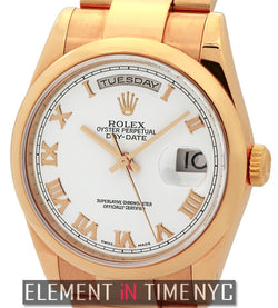 18k Rose Gold White Roman Dial Circa 2000