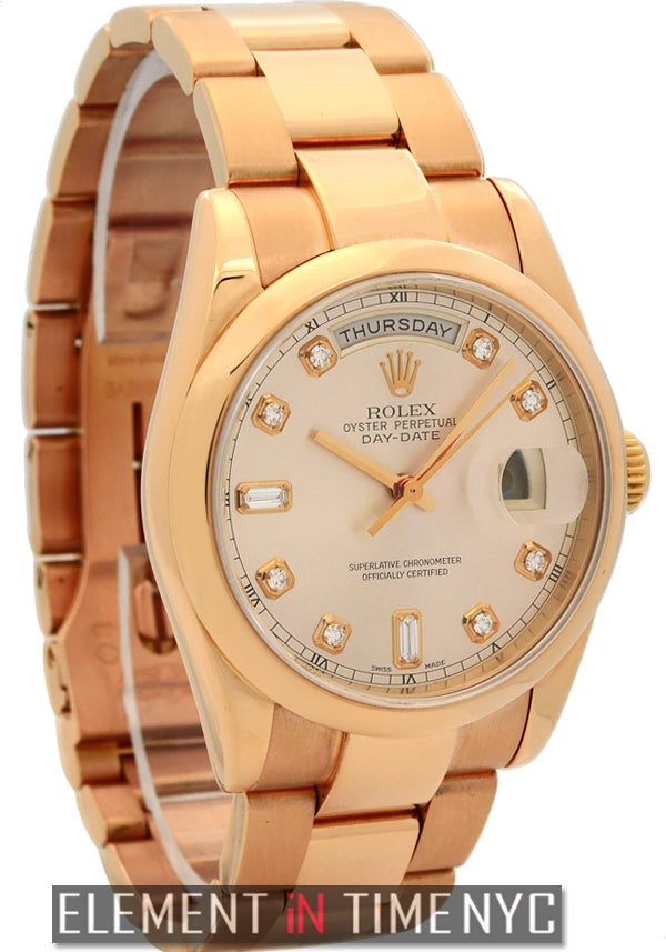 18k Rose Gold Pink Diamond Dial