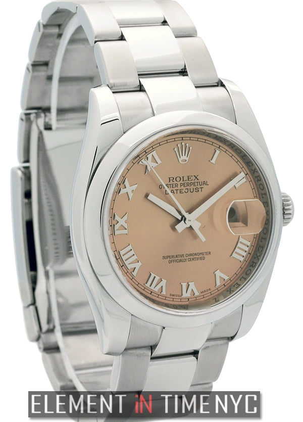 Stainless Steel 36mm Salmon Roman Dial