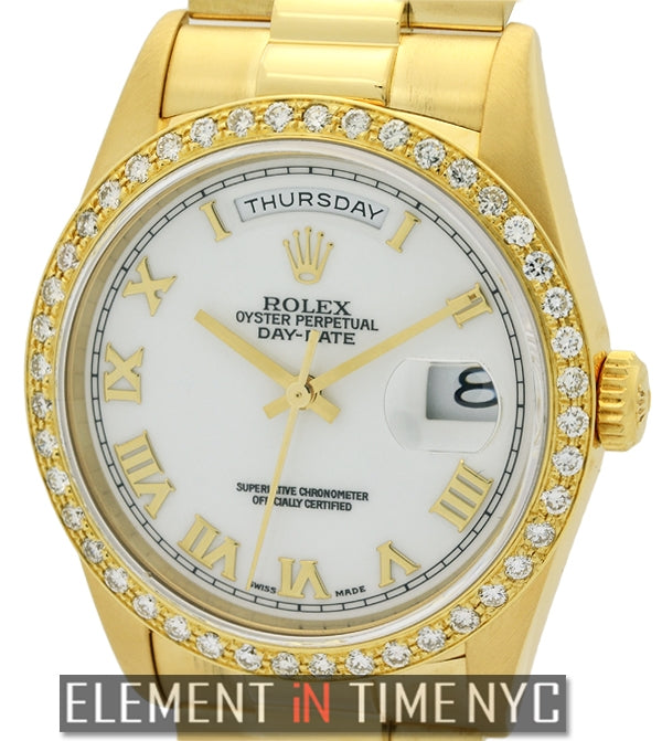 President 36mm 18k Yellow Gold Diamond Bezel