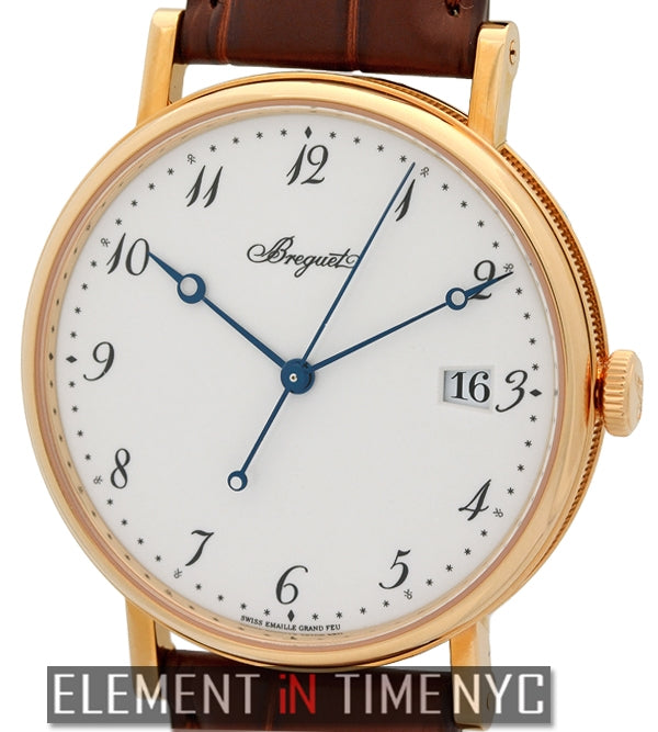 38mm 18k Rose Gold White Enamel Dial