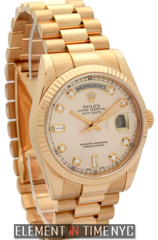 President 18k Rose Gold Pink Diamond Dial Circa 2004