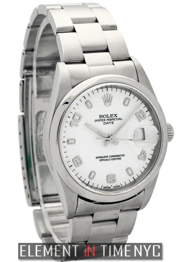 34mm Date Steel White Arabic Dial U Serial