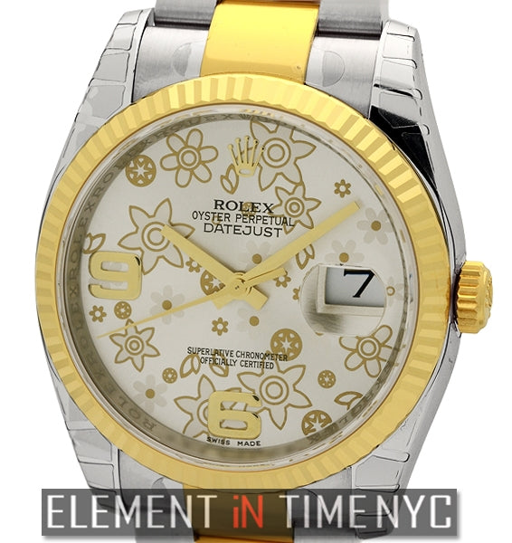 Steel & Gold 36mm Silver Floral Dial