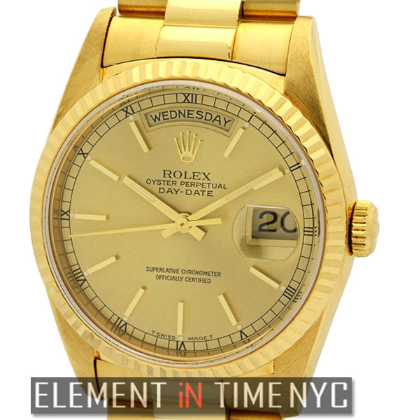 Vintage 36mm President 18k Yellow Gold Champagne Stick Dial L Series