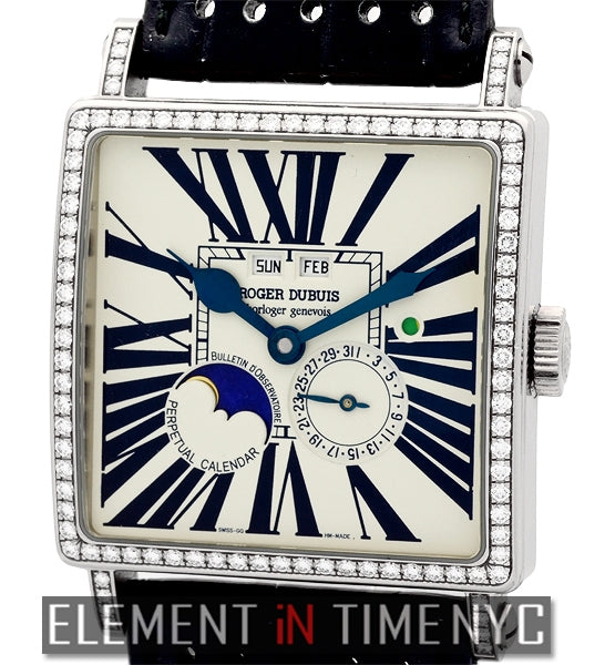 Perpetual Calendar 18k White Gold Diamonds