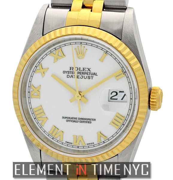 Steel & Gold 36mm White Roman Dial T Series