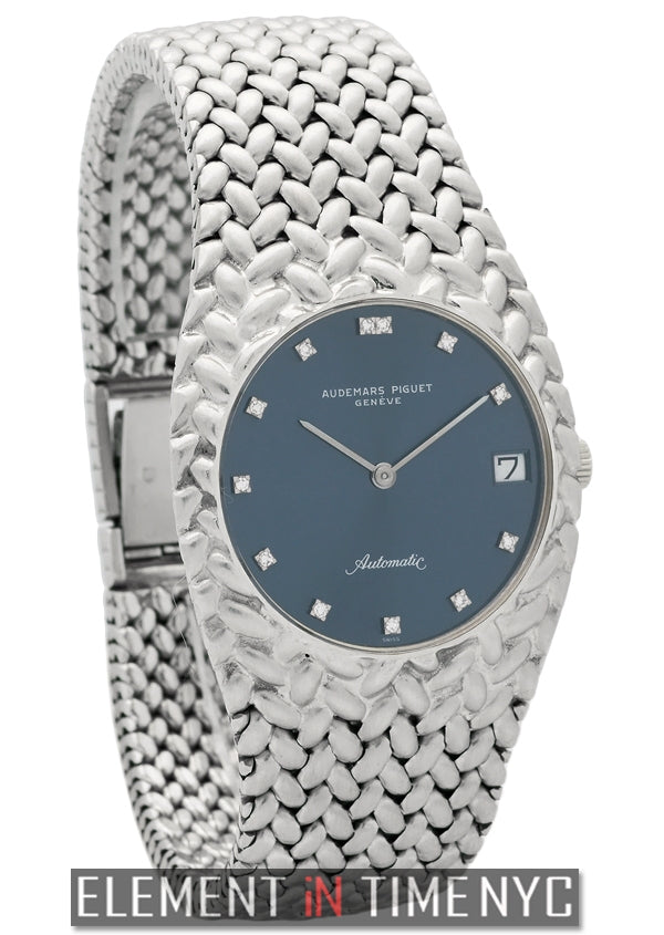 18k White Gold Mesh Bracelet Blue Diamond Dial