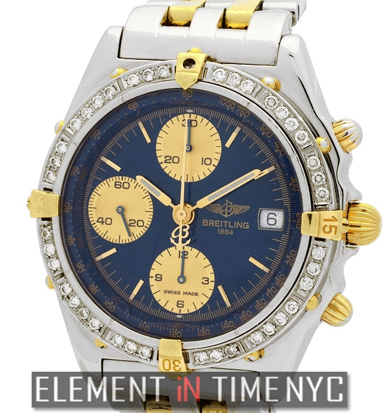 Steel & Gold Blue Dial Diamond Bezel