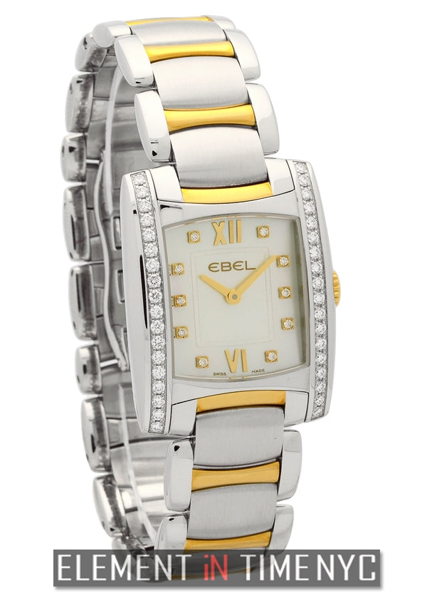 Lady Steel & Gold Diamond Bezel MOP Diamond Dial