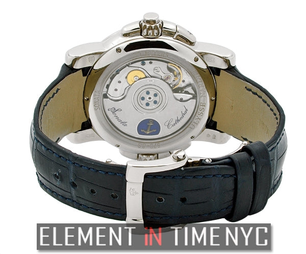 Sonata Cathedral Dual Time 18k White Gold Blue Dial