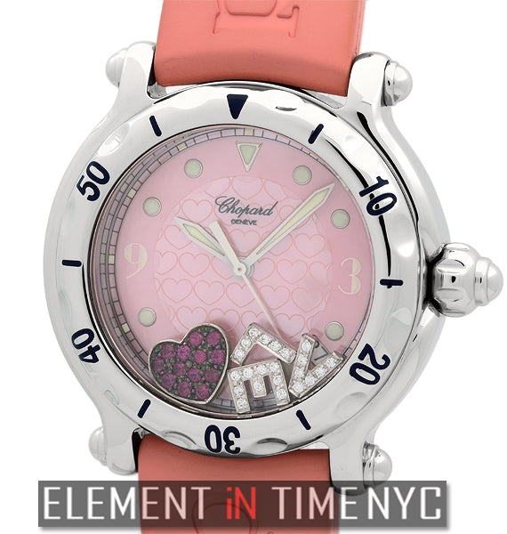 Happy Hearts LOVE Steel 38mm Pink MOP Dial
