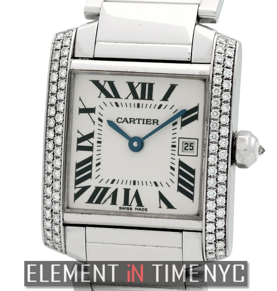 Tank Francaise Mid-Size 18k White Gold With Diamonds