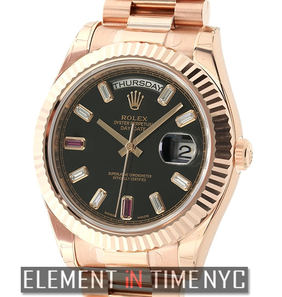 President 18k Rose Gold Baguette Diamond & Ruby Dial