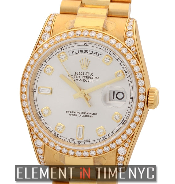36mm President 18k Yellow Gold Diamond Bezel, Lugs & Dial