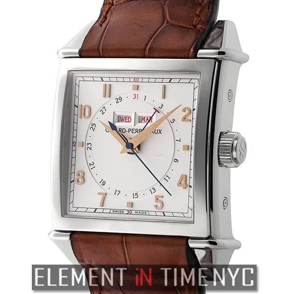 Triple Calendar Stainless Steel 34mm Silver Dial