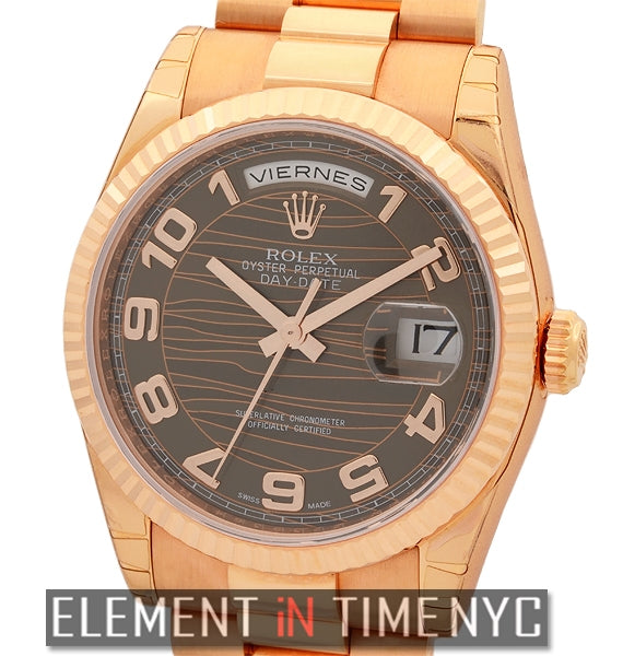President 18k Rose Gold Chocolate Caramel Dial