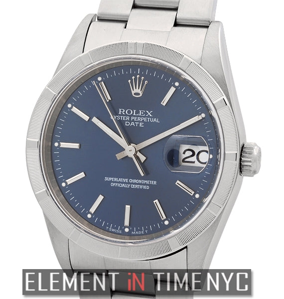 Date Stainless Steel 34mm Blue Index Dial Y Serial