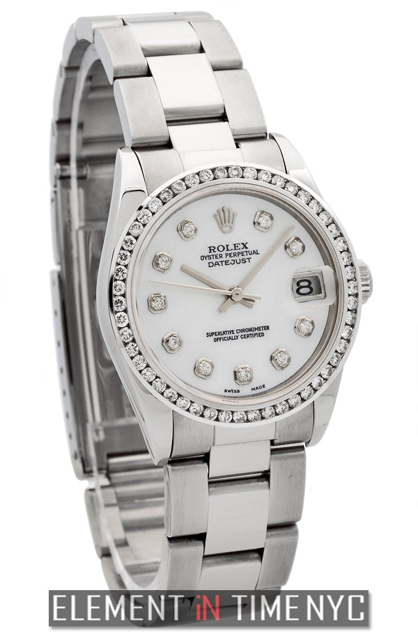 31mm Stainless Steel Diamond Bezel MOP Diamond Dial