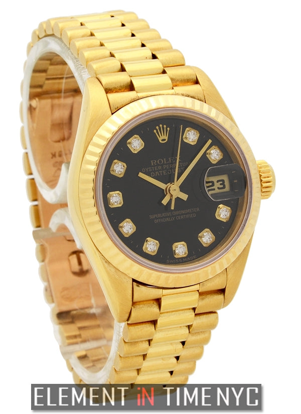 President Ladies 18k Yellow Gold Black Diamond Dial 1987