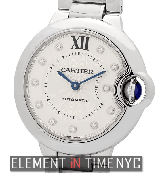 Ballon Bleu 33mm Steel Silver Diamond Dial